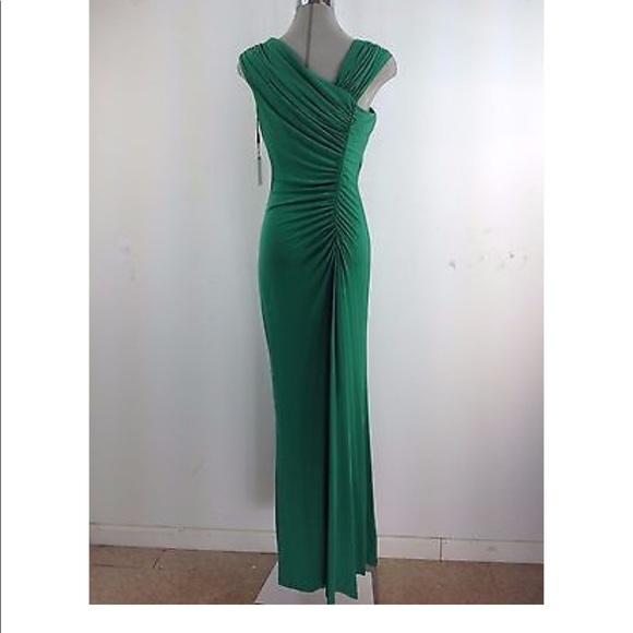 8f029d2aa0 Calvin Klein Goddess Green Ruched Long Dress - NEW
